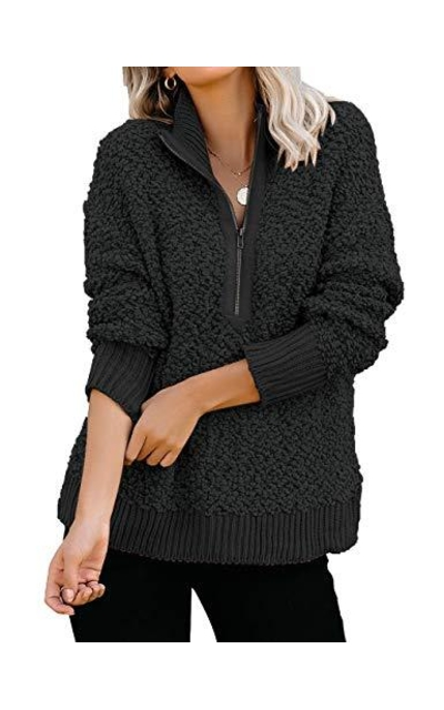 luvamia Casual Fleece Zipper Pullover