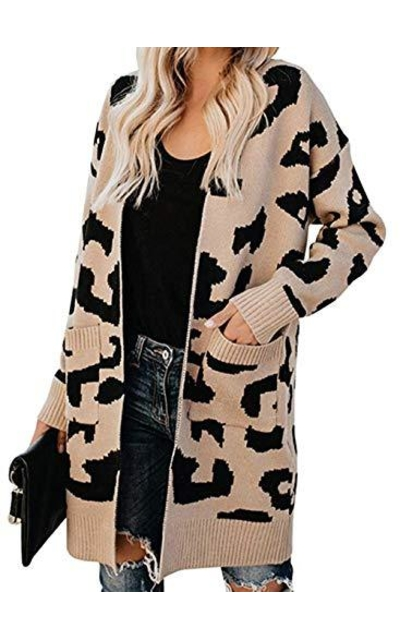 BTFBM Leopard Knit Long Cardigan