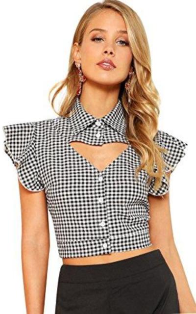 WDIRA Ruffle Plaid Crop Shirt