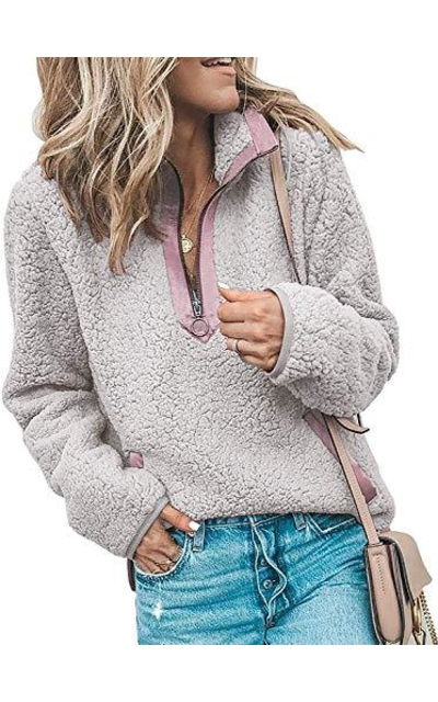 SVALIY Fleece Sherpa Fuzzy  Pullover