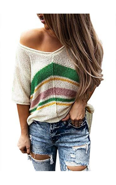 BLENCOT  Striped Knit Top