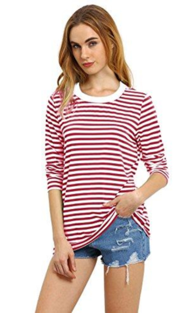 ROMWE Stripe Long Sleeve T-shirt