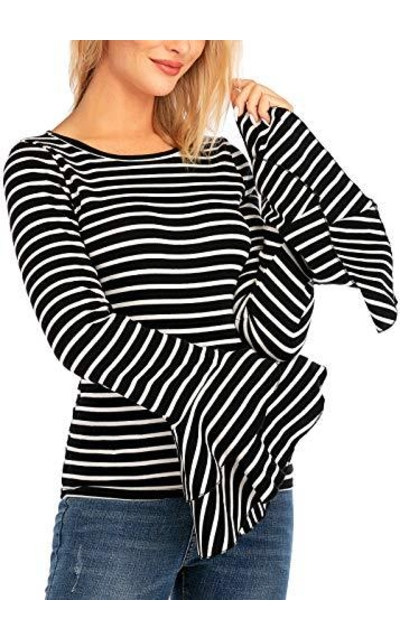 Yissang Long Cascading Ruffle Sleeve Striped T Shirt