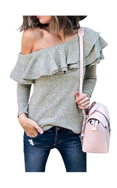 BerryGo One Shoulder Ruffle Sweater