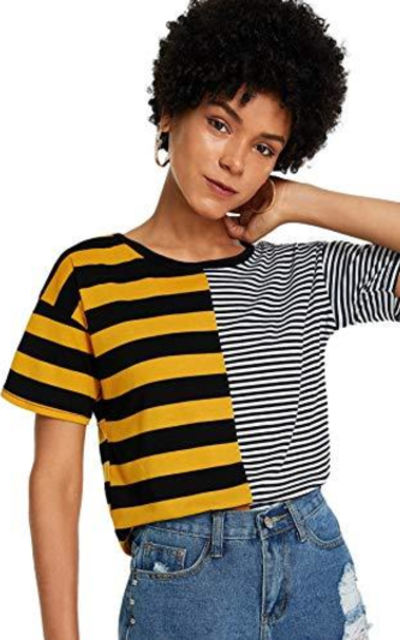 SheIn Colorblock Striped Tee