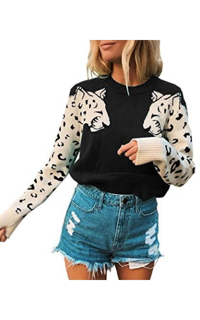 Angashion Leopard Printed Sweater