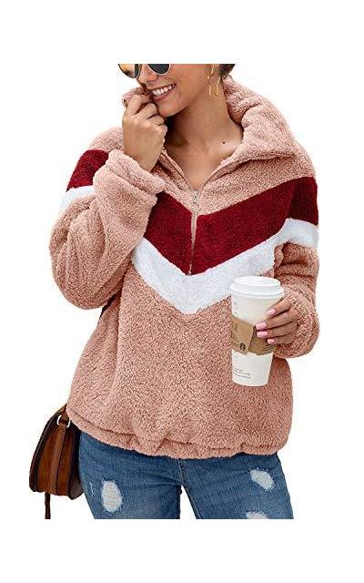 Yanekop  Half Zipper Color Block Sweatshirt