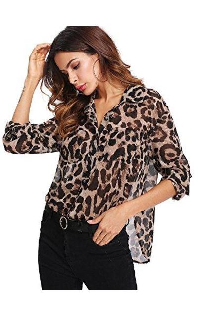 Floerns Sheer Leopard Print Chiffon Blouse