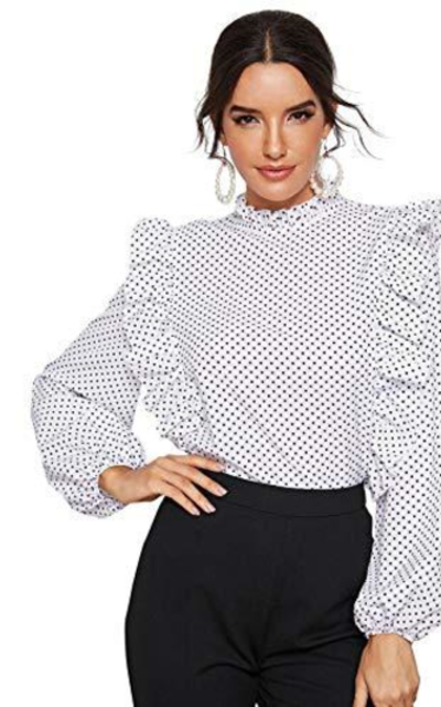 ROMWE Polka Dot  Ruffle Top