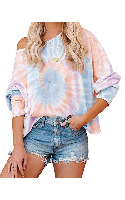 ReachMe Off Shoulder Tie Dye Pullover