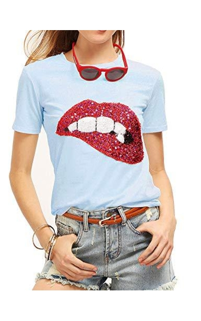 Sequined Sparkely Lip Print T Shirt