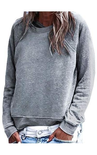 Dokotoo Solid Plain Thin Pullover Sweatshirt
