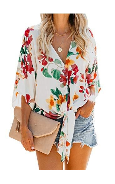 HOTAPEI Summer Floral Tie Knot Top