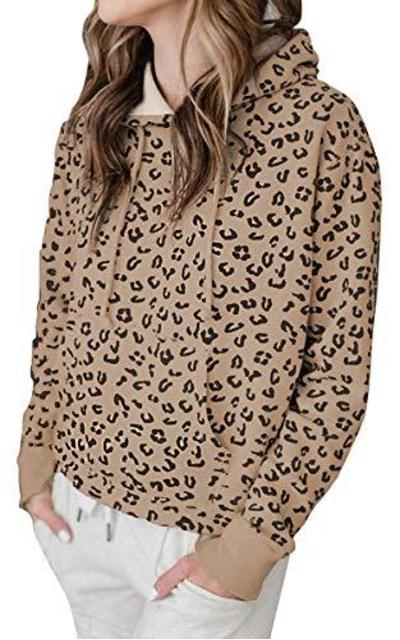 ECOWISH Leopard Hooded Sweatshirt
