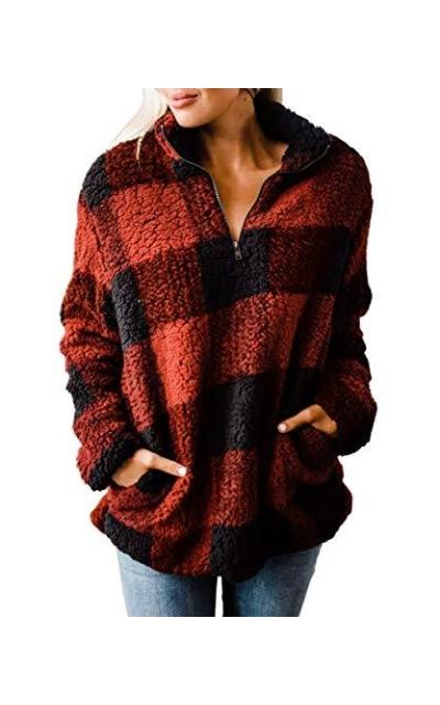 ZESICA Plaid Sherpa Fleece Sweatshirt Pullover