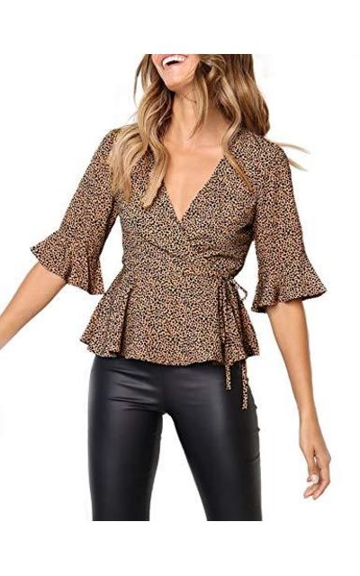 Relipop  Leopard Flare Sleeve Tie Waist Ruffle Hem Top