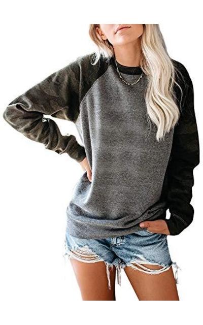SIDEFEEL Camo Print Sleeve Sweatshirt