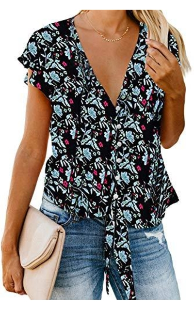 GAMISOTE Chiffon Floral Blouse