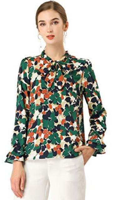 Allegra K Floral Long Sleeve Tie Neck Blouse Top