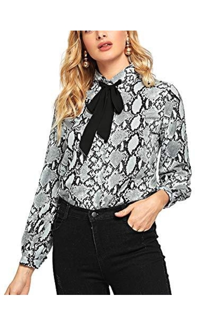 Bow Tie Neck Button Down Top