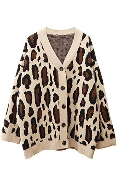 Amy Babe Leopard Jacquard Knit Sweater Cardigan