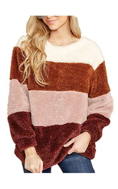Color Block Sherpa Fuzzy Pullover
