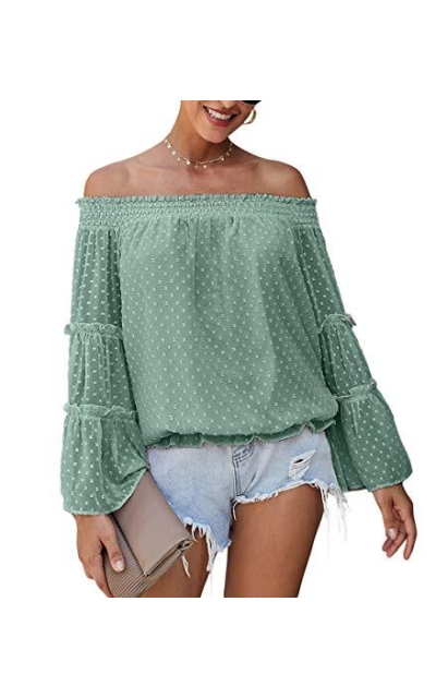 KIRUNDO Off Shoulder Swiss Dot Top