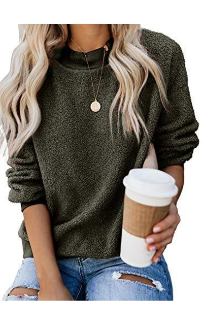 PRETTYGARDEN Sherpa Pullover Sweatshirt