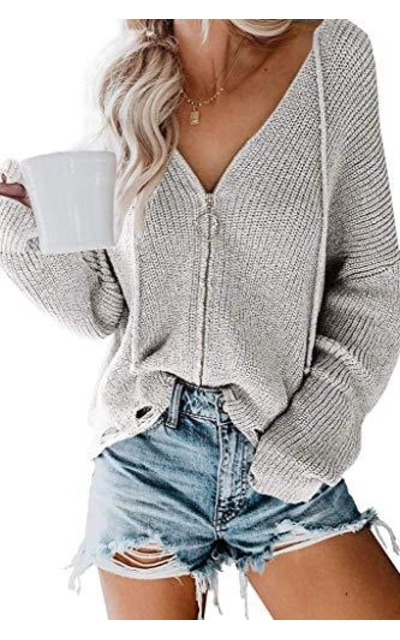 ReachMe Zip Up Cardigan Sweaters with Hood