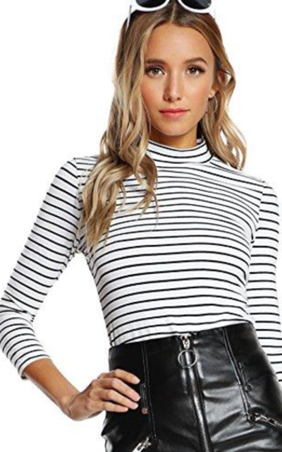 Floerns High Neck Striped T-Shirt