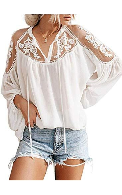 Biucly Lace Loose Blouse