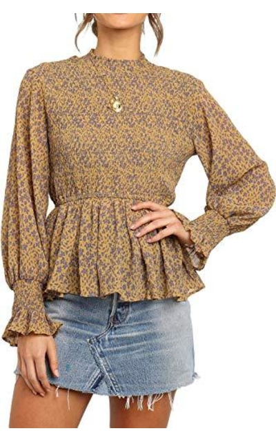 CILKOO Frill Smocked Top