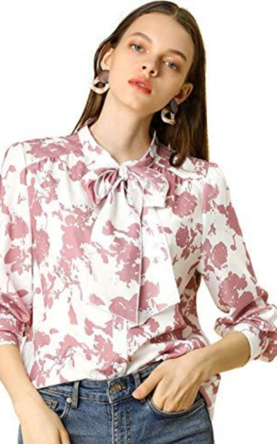 Allegra K Floral Ruffle Sleeves Button Up Blouse