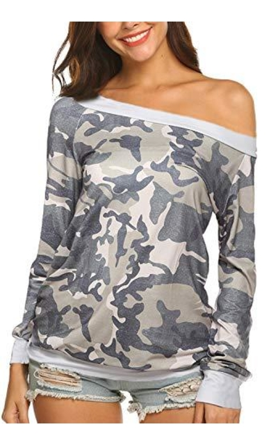 Newchoice Off The Shoulder  Camo Top