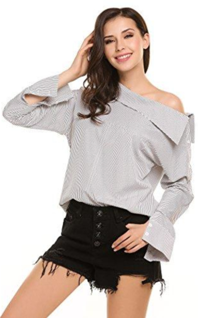 Zeagoo Striped Off Shoulder Top