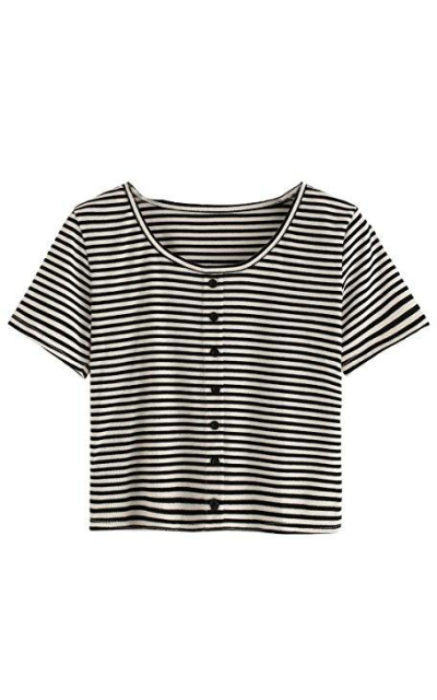 Verdusa Striped T-shirt Crop Top
