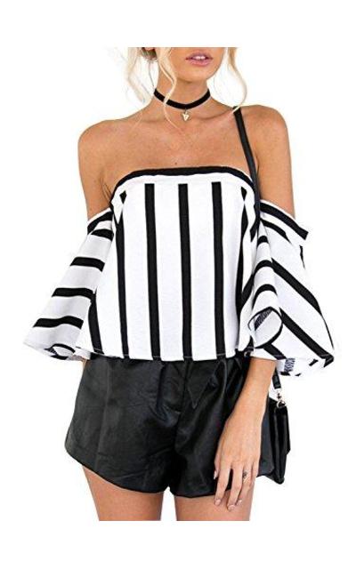 Glamaker Off Shoulder Striped Blouse
