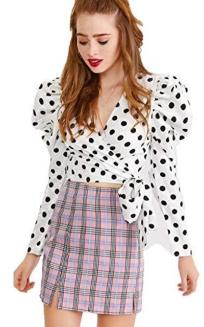 ROMWE Puff Sleeve Polka Dot Crop Top