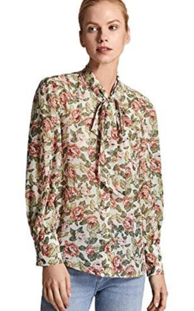 ROMWE Bow Tie Neck Floral Print Button Down Top
