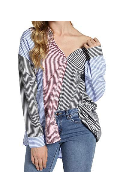Striped Oversize Button Down Shirts
