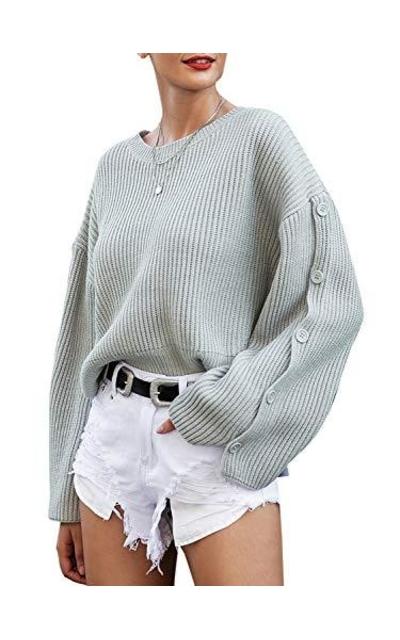 MsLure Crew Neck Side Split Sweater