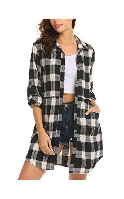 HOTOUCH Button Down Plaid Flannel Shirt