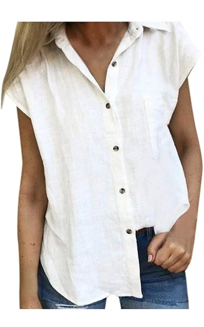 Hosamtel Short Sleeve Button Down Linen Top