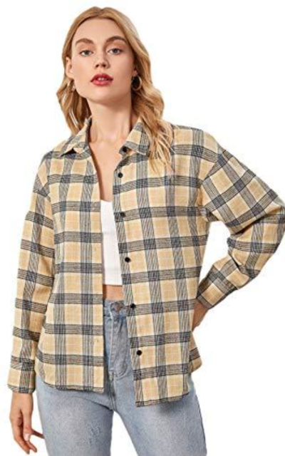 SweatyRocks Plaid Button Down Shirt