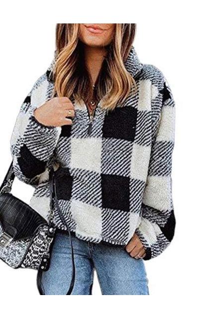 Dokotoo Plaid Checkered Sweatshirt Pullover