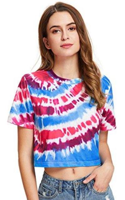 SheIn Tie Dye Print Crop Top