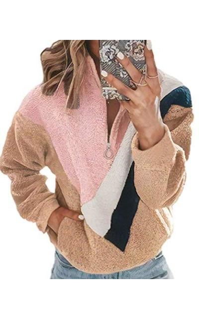 ECOWISH Sherpa Sweatshirt Fuzzy Fleece Pullover