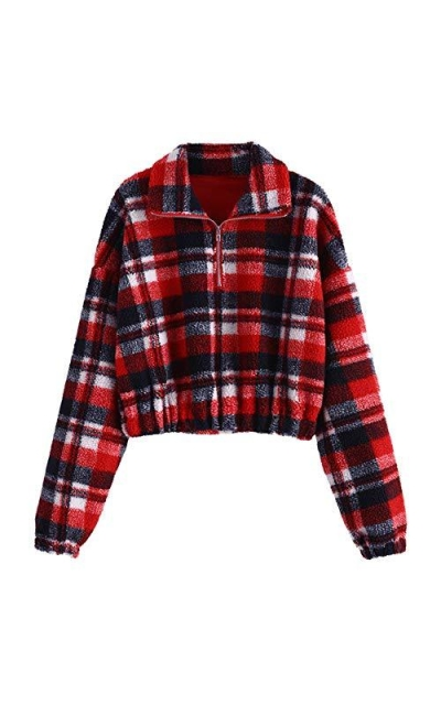 ZAFUL Sherpa Pullover Faux Fur Crop Sweatshirt