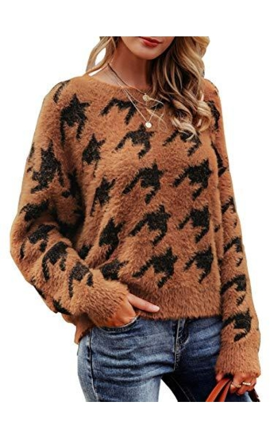 MsLure Houndstooth Print Mohair Sweater