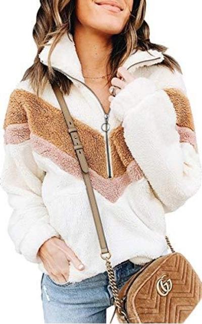 ECOWISH Fuzzy Fleece Pullover Soft Jacket